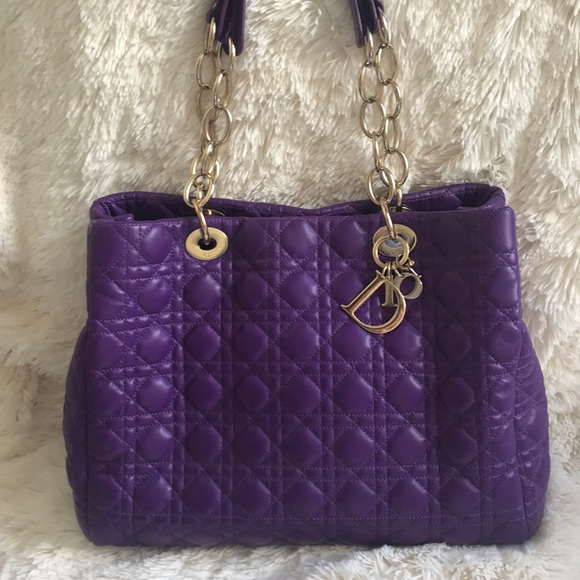6bc1b54d7f Dior Bags | Christian Purple Cannage Quilted Tote Bag | Poshmark